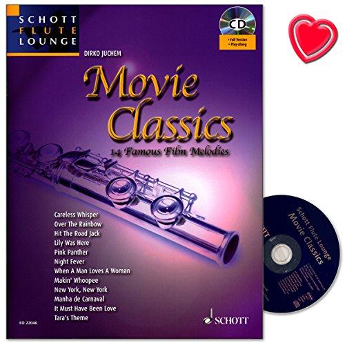 Movie Classics - 14 bekannte Film-Melodien für Flöte und Klavier - eine breite Auswahl unvergessener Klassiker der Filmgeschichte in frischen und auf das Instrument abgestimmten Arrangements - Notenbuch mit CD, eingelegter Klavierstimme und bunter herzförmiger Notenklammer -