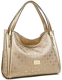 Ana Lublin Women Ladies Tote Bag Gold Genuine Leather Handbag Shoulder Bag Top Handle Purse