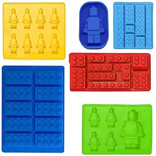 Mydio 6 Stück Robot Bricks Form Eiswürfelform Silikon Form Süßigkeitenformen Schokolade Formen Minifigur Silikon Süßigkeiten Formen und Eisform für Kinder-Party und Baustein-Themen.