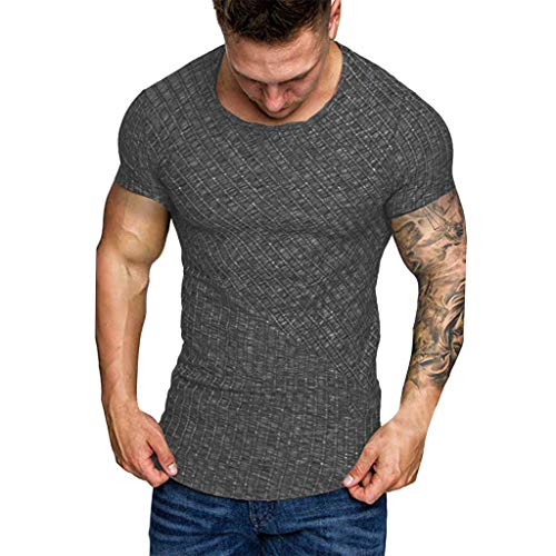 Mens Summer T-Shirt Slim Fit Print Short Sleeve T-Shirt Top Blouse Black ()