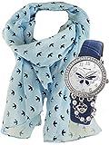 Geschenk-Set, Mädchen Uhr mit hübschem Schmetterlings- Motiv und Herzchen- Kette in blau, dazu Schal mit Schwalben Motiv