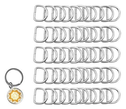 Mandala Crafts Robuste D-Ringe aus Metall für Geldbörse, Gepäck, Rucksack, Nähen, Schlüsselanhänger, Geschirr, Gürtel, Leine, Hundehalsband, zum Aufhängen 4.5mm Thick 1 Inch Wide 50 PCs silber (Bulk Rucksäcke In)