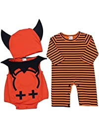 Freebily Disfraz de Diablo Halloween para Bebé Niña Niño Unisex Conjunto Infantil Body Pelele Mono Gorro para Recién Nacido Cosplay