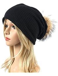 Boomly Femmes Bonnet Tricoté avec Pompom Beanie Hat Chapeau d hiver  L automne Chapeau Chaud Coton Chapeau de Loisirs… 991b5ca5c45