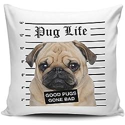 Pug Life Cojín con diseño de carlino