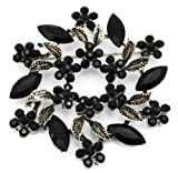 Elixir77UK Large Antique Gold Colour Leaf and Flower Bouquet Pin Brooch With Black Crystals UK SELLER