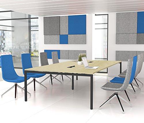 NOVA Konferenztisch 320x164cm Ahorn mit ELEKTRIFIZIERUNG Besprechungstisch Tisch, Gestellfarbe:Anthrazit