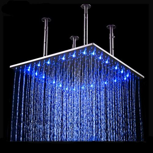 BONADE 50x50 LED Quadratische Einbau-Duschkopf Regenduschkopf Regenbrause Dusche mit 3 Farben wechseln
