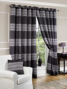 Black Silver Lined Eyelet Curtains Manhattan 90 X 90 Kitchen Home