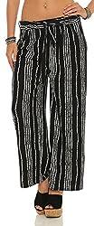 ZARMEXX Fashion Damen Hose leichte Sommer Freizeithose Marlenehose gestreifte Stoffhose weites Bein HC701 (L/XL (40/42), Schwarz)