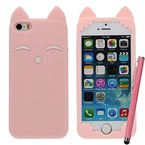 iPhone 5C 5S Rose Case, Filles Style, Dessin animé Style