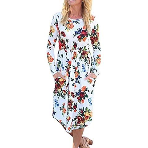 Damen Kleid LSAltd Frauen Herbst Weinlese Blumen gedrucktes Kleid langes Hülsen beiläufiges Abend Partei Kleid (Weiß, XL)