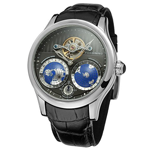 FORSINING Men\'s Brand Automatic Movement Stainless Steel Case World Map Dial Wrist Watch FSG9413M3S1