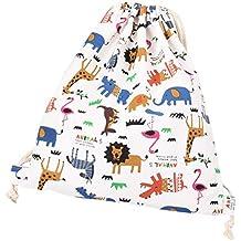 Laat - Bolsa y mochila de tela de algodón unisex para niños o adolescentes, diseño con dibujos de animales