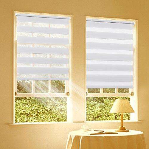 Duo Rollo Doppelrollo Klemmfix für Fenster ohne Bohren Wandmontage mit Klemmträger 45x100cm(BxH) Weiß