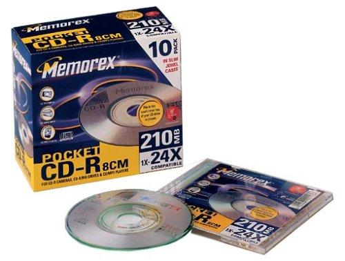 Memorex Mini-CD-R CD-Rohlinge 210MB (24x) Slim Jewel Case 10er-Pack (Memorex Slim)