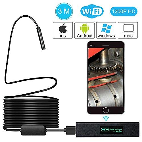 Wifi Inspektionskamera, QZY Wireless Endoskop, 2.0 Megapixel 1080P HD Endoskop, IP68 Wasserdichte Tube Snake Kamera Mit 8 LED-Leuchten Für Iphone IOS Ipad, Android Smartphone, Tablet - 3 Meter Schwarz (Schwarz Entlüftungsrohr)