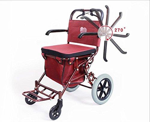 Passeggero leggermente pieghevole a quattro ruote con sedile imbottito, sedile pieghevole per scooter di scuola anziana, può prendere quattro giri per acquistare le scatole per l'alimento Può essere utilizzato per spingere un piccolo carrello