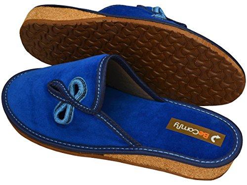 BeComfy Hausschuhe Baumwolle Damen Pantolette Komfort Kork Pantoffeln Latschen Modell DN02 Blau