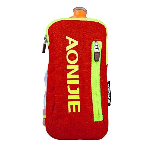 Imagen de aonijie bolsa de nylon para maratón de mano  de hidratación, correr eléctrica bolso de mano con 1pieza 250ml botella de agua, naranja alternativa