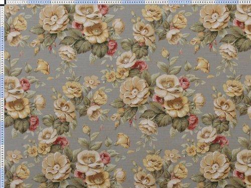 Tessuto da tappezzeria, rivestimento in tessuto, tessuto da tappezzeria, tessuto, tessuto della tenda, romantica stampa floreale tessuto - olive, diversità, Rosery, su linee
