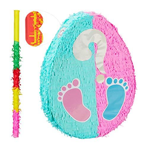 Relaxdays 3 TLG. Pinata Set Babyparty, Pinatastab mit Augenmaske, für Babyshower, Stock & Augenbinde, selbst befüllen, Piñata, bunt (Stock-spielzeug Boy Baby)