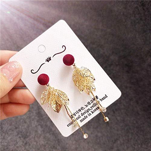 Orecchini originali di autunno e di inverno orecchini di personalità dolci orecchini di peluche leopardo rosso lascia orecchini di amore 8