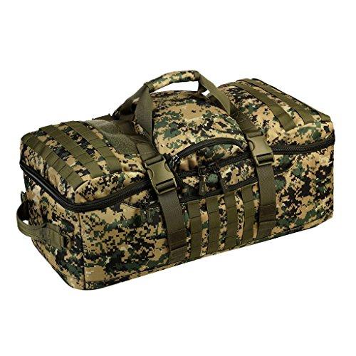 MagiDeal Mehrzweck Militärische Taktische Molle Reiserucksack Großer Rucksack 60L Sportrucksack Duffle Bag Wanderrucksack Trekkingrucksack als Schultertasche Umhängetasche Woodland Digital