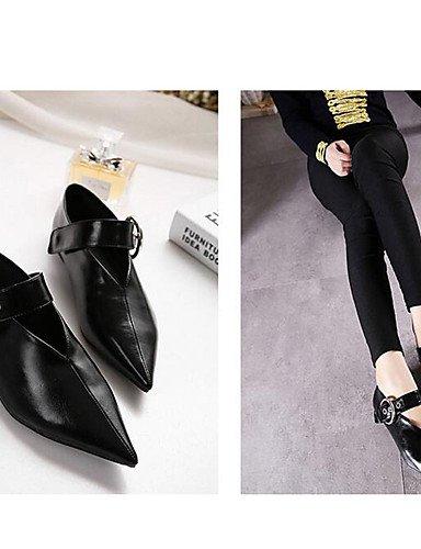 WSS 2016 Chaussures Femme-Mariage / Bureau & Travail / Habillé / Décontracté / Soirée & Evénement-Noir-Talon Plat-Talons-Talons-Cuir Verni black-us7.5 / eu38 / uk5.5 / cn38