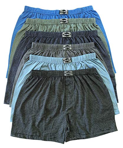 .bakis. 3/6/9/12 Stück Klassische Herren Boxershorts Unterhosen Unterwäsche mit Eingriff in Normalgröße und Übergröße, Gestreift Gr.5(S)-13(6XL) - 12 Stück - Gr. 8(XL) - Klassische Baumwolle Boxer