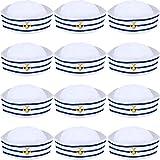 Syhood Blau mit Weißen Segelhüten Marine Seemann Hut für Kostüm Zubehör, Anziehparty (6 Packungen)