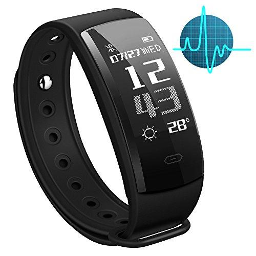 NANDEYIBI Fitness Armband, QS90 Intelligentes Armband Bluetooth 4.0 / IP67 Wasserdichte Intelligente Uhr, Sportarmband, Elektronisches Manschette, Herzfrequenz- / Blutdruck- / Blutsauerstoff-Überwachung / GPS-Aufzeichnung / Tauchen / Kalorie-Zählung / Schlafqualität Überwachung und mehr / Für Android 4.4 oder IOS 7.1 und später, IPhone X / 8/8 Plus / 7/7 Plus und Samsung S9