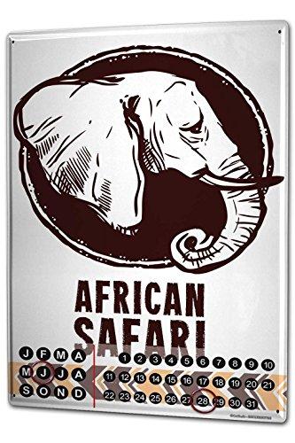 Calendario perpetuo Elefante Zoo Safari en África Metal Imantado