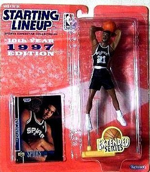 Tim Duncan Action Figure, in San Antonio Spurs Uniform - 1997 Starting Lineup 10th Year Edition Extended Series NBA Basketball by Kenner/Hasbro, Inc.
