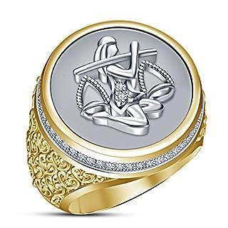 Vorra Fashion 14k Gold Plated 925 Sterling Silver Zodiac Sing Ariex Men's Band Luxury Ring (U 1/2)