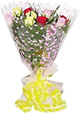 MIX ROSES HAND BUNCH Hand Tied Bouquet Wrapped in Cellophane Packing with Green Fillers & Ferns (12 Mix Roses)
