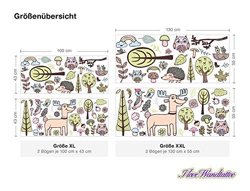 Wandtattoo Wandsticker Kinderzimmer Bunte Waldtiere Sticker Aufkleber Wandtatto