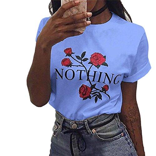 AmazingDays Chemisiers T-Shirts Tops Sweats Blouses,Femme Rien Rose Impression Été Loose Tops Chemisier à Manches Courtes T-Shirt blue