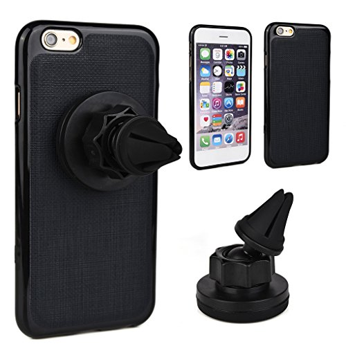 Kroo Étui universel de grille d'aération auto pour smartphone avec support magnétique solide pour Smartphones Apple iPhone 6S rouge - Rouge/noir noir - noir