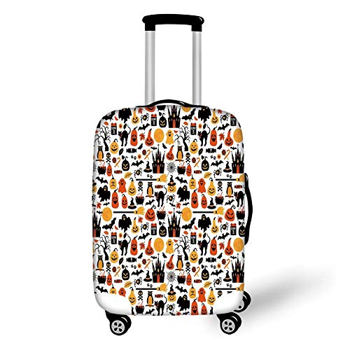 Travel Luggage Cover Suitcase Protector,Halloween,Halloween Icons Collection Candies Owls Castles Ghosts October 31 Theme Decorative,Orange Yellow Black,for TravelL 25.9x37.8Inch