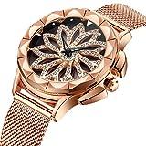 TYWZF Uhr Frauen Quarz Rose Gold Strass Blume Zifferblatt Design Stahlgewebe Band Uhr