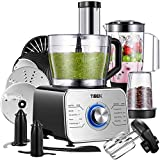 Food Processor Multifunctional Food Processor - Blender, Chopper, Mixer, Grinder with Dough Blade, Shredder, Slicing Attachments, 3 Speed 1100W Powerful Motor, 2L Bowl and 1.5L Blender Jug