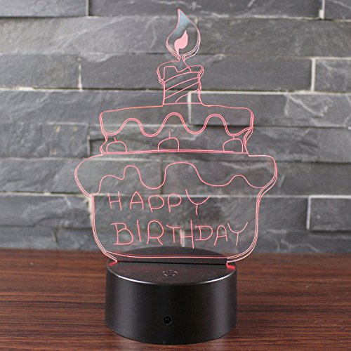 3D Lamp Visual Light Touch Switch Colorful Night Light with Black Pedestal (Birthday Cake) Black Night Light