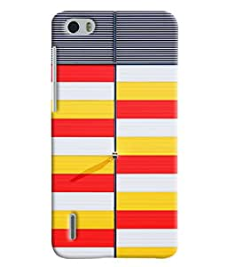 Blue Throat Yellow White And Red Stripes Hard Plastic Printed Back Cover/Case For Huawei Honor 6