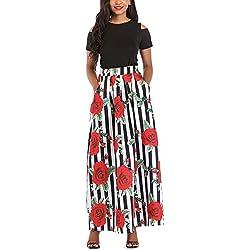 iBaste Talla Grande Retro Largo Vestido Elegante Mujer Estampado Rosa 2 Piezas Falda Fuera del Hombro Dress
