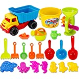 Strandspielzeug, Wolfbush 21 Pieces Beach Sand Toys Set with Mesh Bag for Kids - Color Random