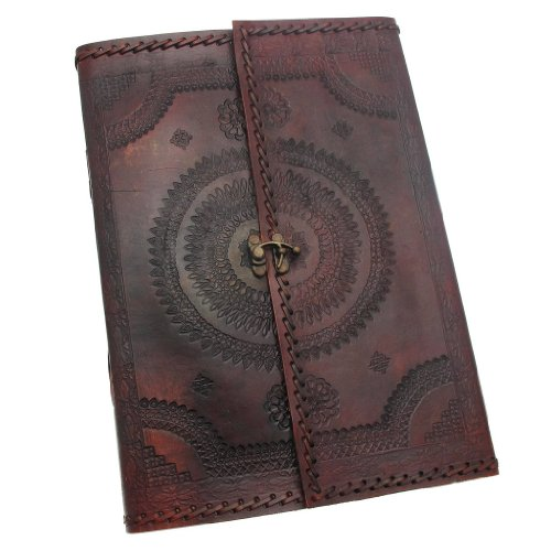 Indra A4 Stitched and Embossed Leather Journal with clasp 205 x 300 mm