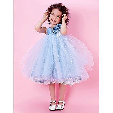 ZY/A-Line/Princess/Ballo al ginocchio Flower Girl Dress–Tulle/Taffetà senza maniche, ruby,