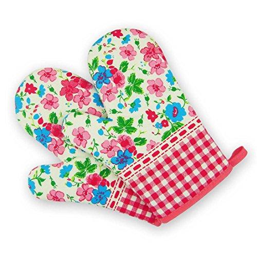 Ywlanlantrading Handschuh Ofenhandschuhe Hitzebeständige Ofenhandschuhe Funny BBQ Mitt (Color : Pink small Flowers)