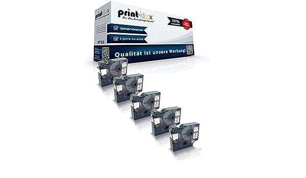 Color Print Serie 5x Kompatible Schriftb/änder f/ür Dymo D1 43613 1000 Plus 2000 5500 Labelmanager 150 160 200 210D 220P 200 S0720780 6 mm x 7 m Black White Farb Band